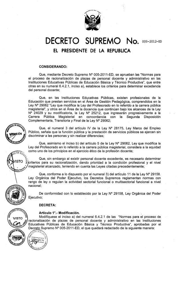 Racionalizacion  docente 2012  ds 009 2012