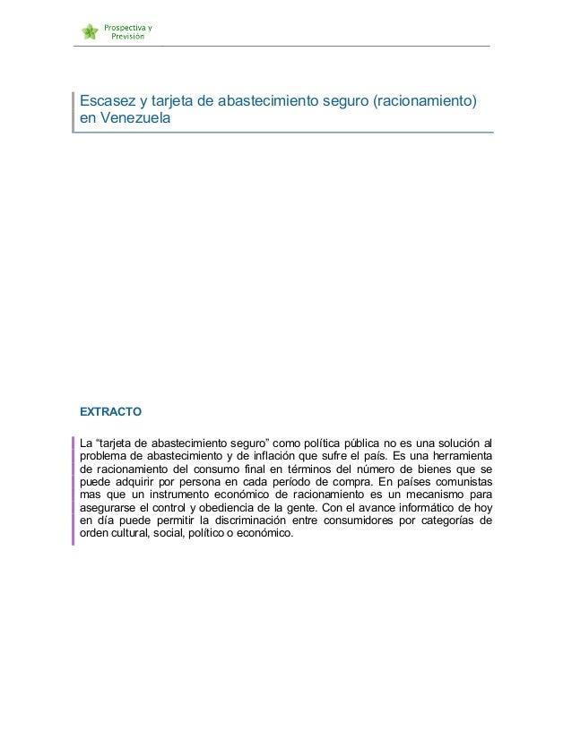 """Escasez y tarjeta de abastecimiento seguro (racionamiento) en Venezuela EXTRACTO La """"tarjeta de abastecimiento segu..."""