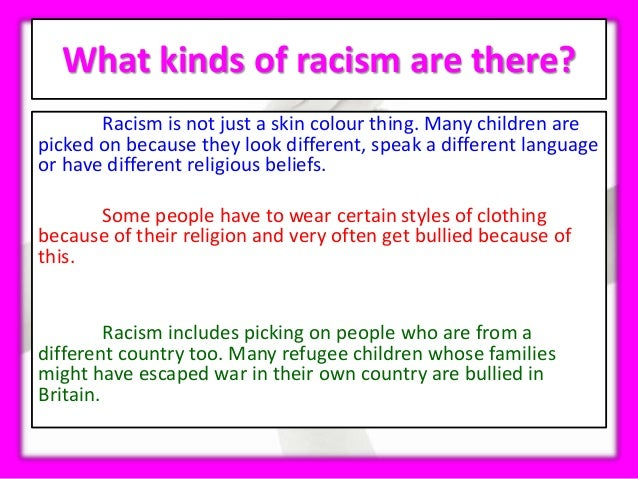 a review of the various forms of racism Practical implications of this review in a  experienced racism and prejudice, in forms  role in relation to racism and prejudice there are various ways in.