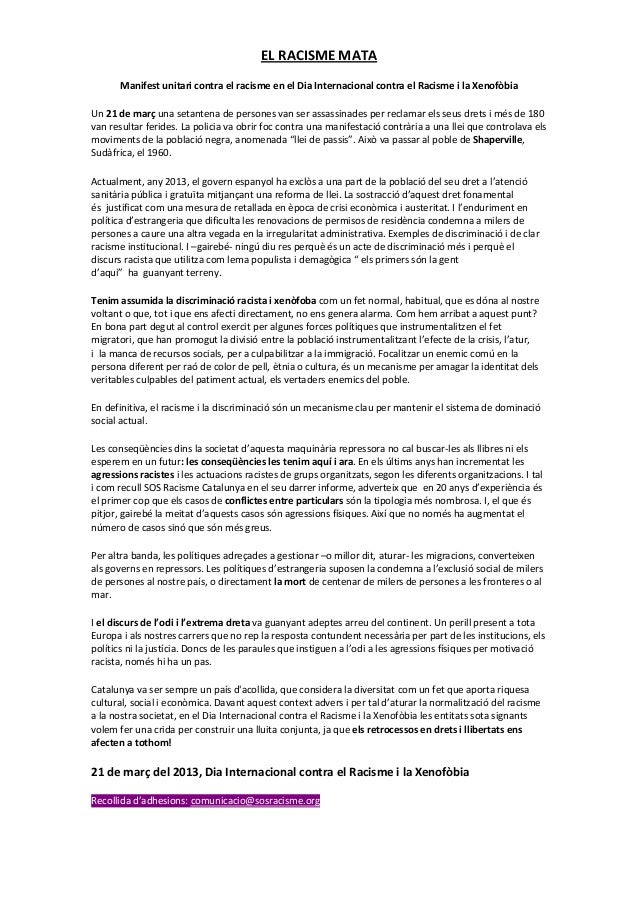 ELRACISMEMATA       ManifestunitaricontraelracismeenelDiaInternacionalcontraelRacismeilaXenofòbiaUn21de...