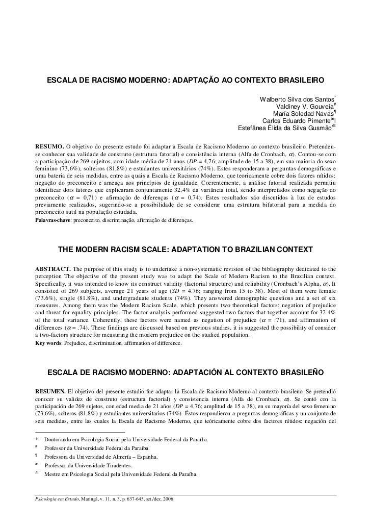 ESCALA DE RACISMO MODERNO: ADAPTAÇÃO AO CONTEXTO BRASILEIRO                                                               ...