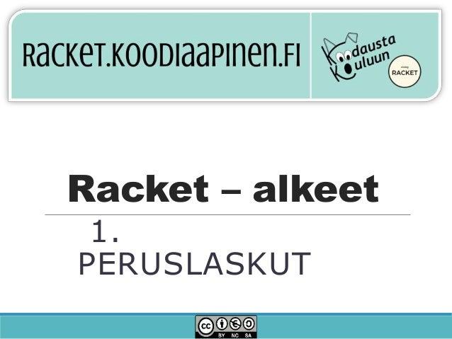 Racket – alkeet 1. PERUSLASKUT