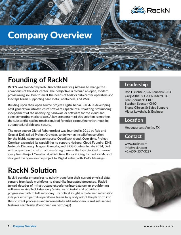 Company Overview w w w . r a c k n . c o m Founding of RackN RackN was founded by Rob Hirschfeld and Greg Althaus to chang...