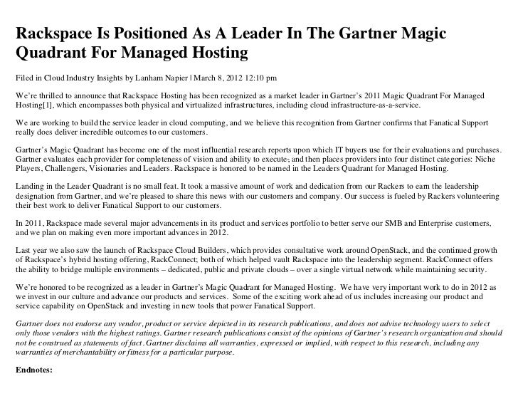 Rackspace is Positioned as a Leader in the Gartner Magic Quadrant for Managed Hosting