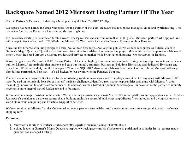Rackspace Named 2012 Microsoft Hosting Partner of the Year