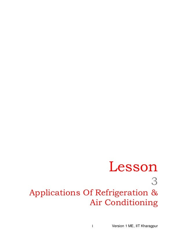 Lesson 3 Applications Of Refrigeration & Air Conditioning Version 1 ME, IIT Kharagpur1