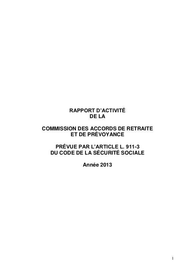 1 RAPPORT D'ACTIVITÉ DE LA COMMISSION DES ACCORDS DE RETRAITE ET DE PRÉVOYANCE PRÉVUE PAR L'ARTICLE L. 911-3 DU CODE DE LA...