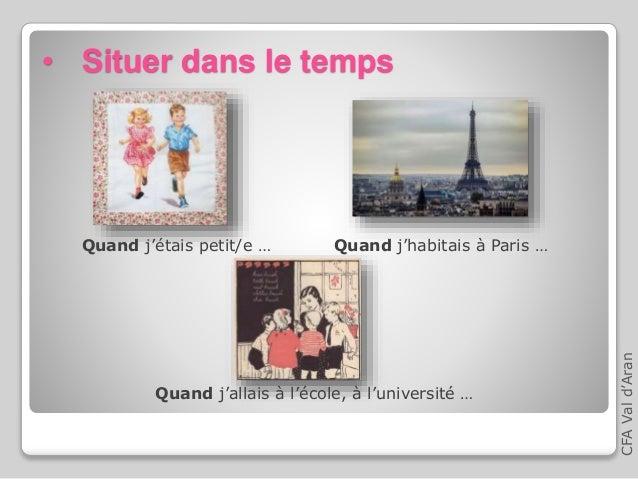 • Situer dans le temps Quand j'étais petit/e … Quand j'allais à l'école, à l'université … Quand j'habitais à Paris … CFAVa...