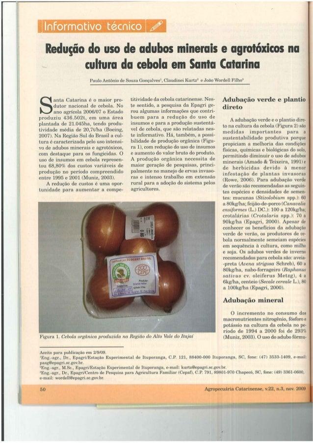 Informativo técnico sobre cebola:  Redução do uso de agroquímicos em cebola.