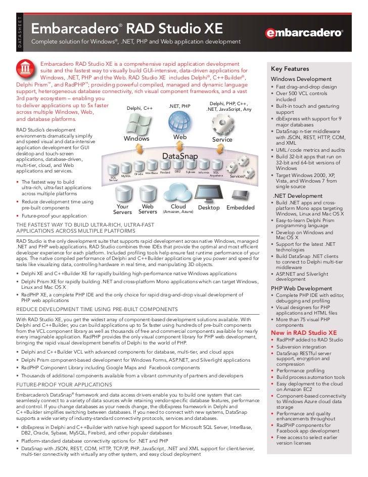 D ATA S H E E T                  Embarcadero RAD Studio XE           ®                  Complete solution for Windows®, .N...