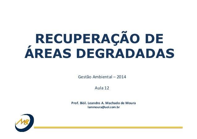 RECUPERAÇÃO DE ÁREAS DEGRADADAS Gestão  Ambiental  –  2014      Aula  12   Prof.  Biól.  Leandro  A. ...