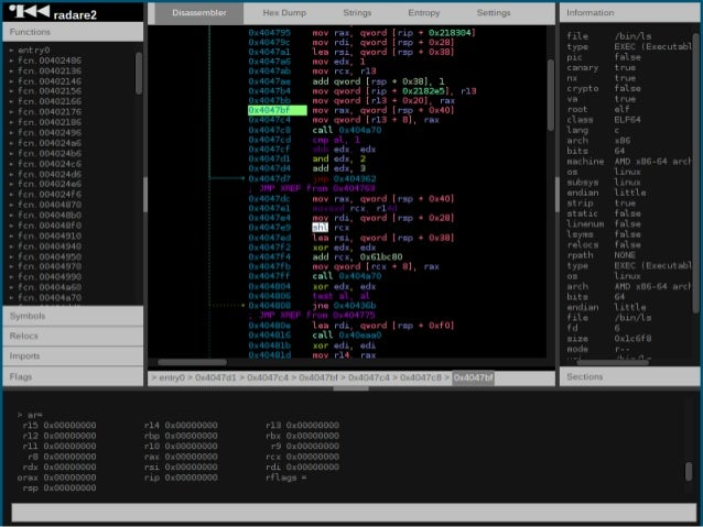 Ê radare  is  a  reverse  engineering  framework     Ê Lots  of  cli  tools  to  work  with...