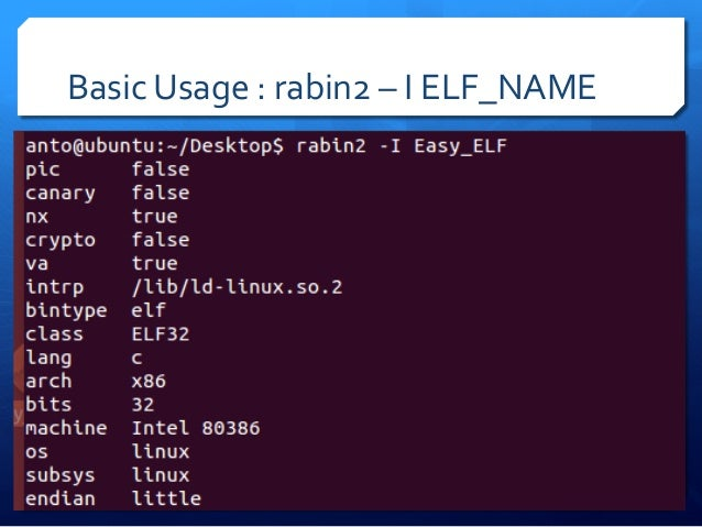 SECTIONS  :  Rabin2  –S  ELF_NAME