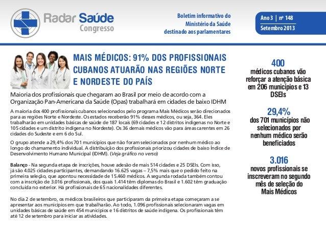 Radar Saúde Congresso Ano 3 | nº 148 Setembro 2013 Maioria dos profissionais que chegaram ao Brasil por meio de acordo com...