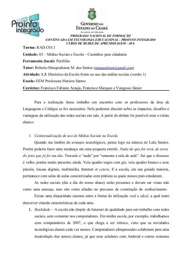 PROGRAMA NACIONAL DE FORMAÇÃO CONTINUADA EM TECNOLOGIA EDUCACIONAL - PROINFO INTEGRADO CURSO DE REDES DE APRENDIZAGEM – 40...