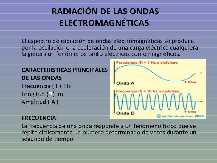 RADIACIÓN DE LAS ONDAS            ELECTROMAGNÉTICASEl espectro de radiación de ondas electromagnéticas se producepor la os...