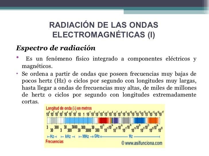 RADIACIÓN DE LAS ONDAS             ELECTROMAGNÉTICAS (I)Espectro de radiación•  Es un fenómeno físico integrado a componen...