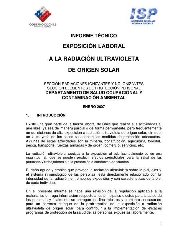 1 INFORME TÉCNICO EXPOSICIÓN LABORAL A LA RADIACIÓN ULTRAVIOLETA DE ORIGEN SOLAR SECCIÓN RADIACIONES IONIZANTES Y NO IONIZ...