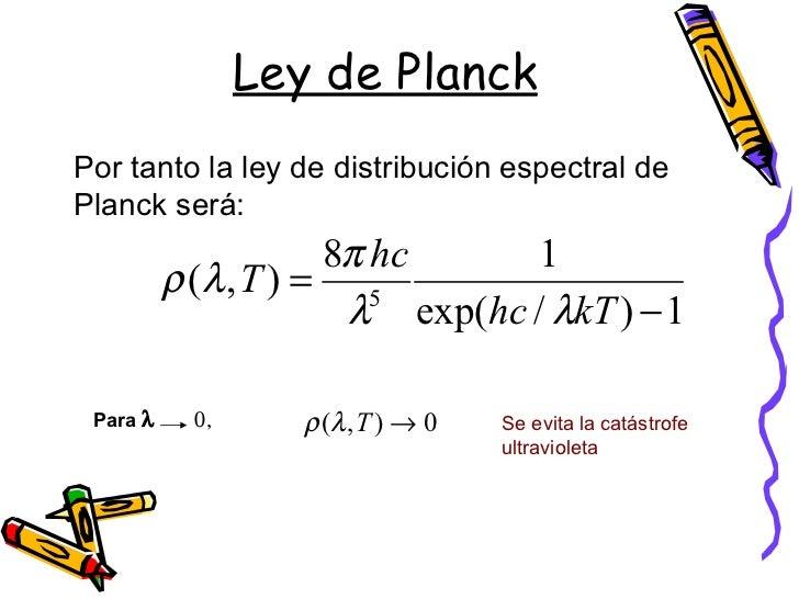 Resultado de imagen de La Ley de radiación de Planck
