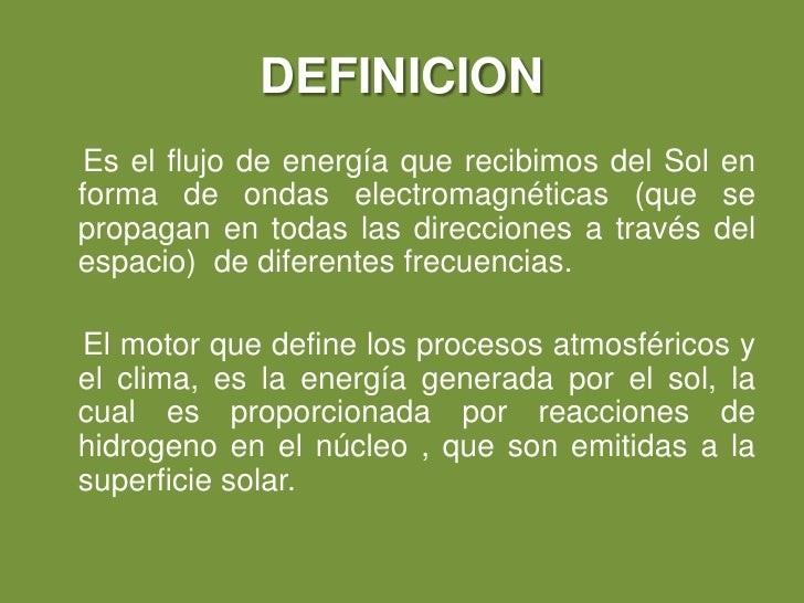 Radiacion solar - Definition de superficie ...