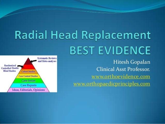 Hitesh Gopalan Clinical Asst Professor. www.orthoevidence.com www.orthopaedicprinciples.com