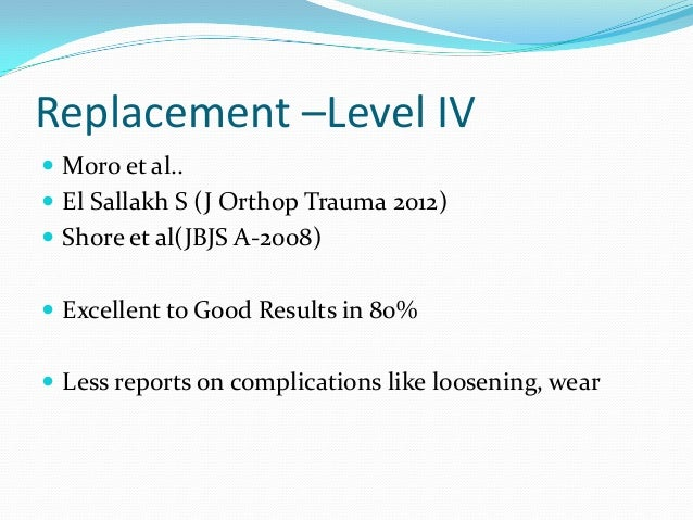       Level 3 Retrospective Case control design Complex Injuries Fixation (13)Vs Replacement(11) Outcomes: ASES , DAS...