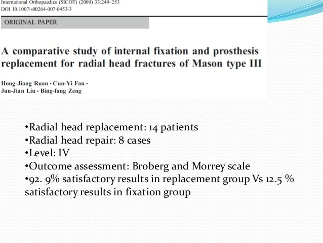 Replacement: 22 patients Repair: 23 patients Outcomes: Broberg and Morrey System Analysis: Satisfactory outcome in 91% in ...
