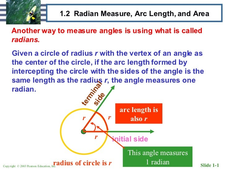 how to find the measure of an arc in radians