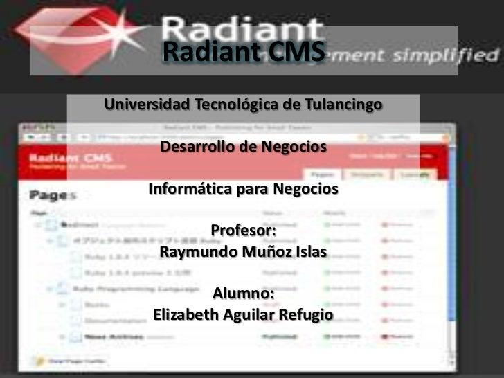 Radiant CMSUniversidad Tecnológica de Tulancingo       Desarrollo de Negocios     Informática para Negocios            Pro...