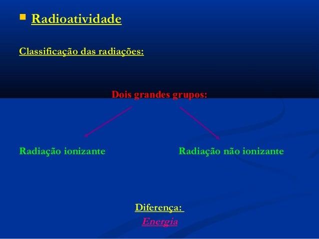  Radioatividade Classificação das radiações: Dois grandes grupos: Radiação ionizante Radiação não ionizante Diferença: En...