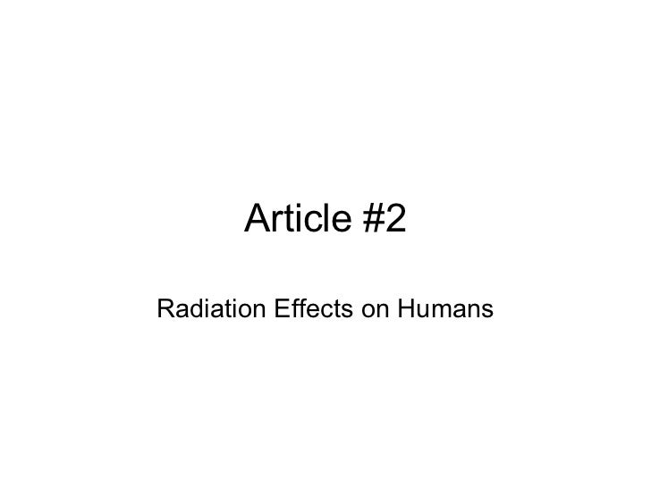 Article #2 Radiation Effects on Humans