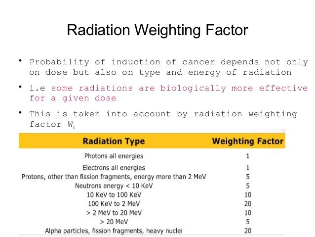 Equivalent Dose It is defined as: H = D Wˣ R where D is the absorbed dose and WR is Radiation Weighting Factor The SI unit...