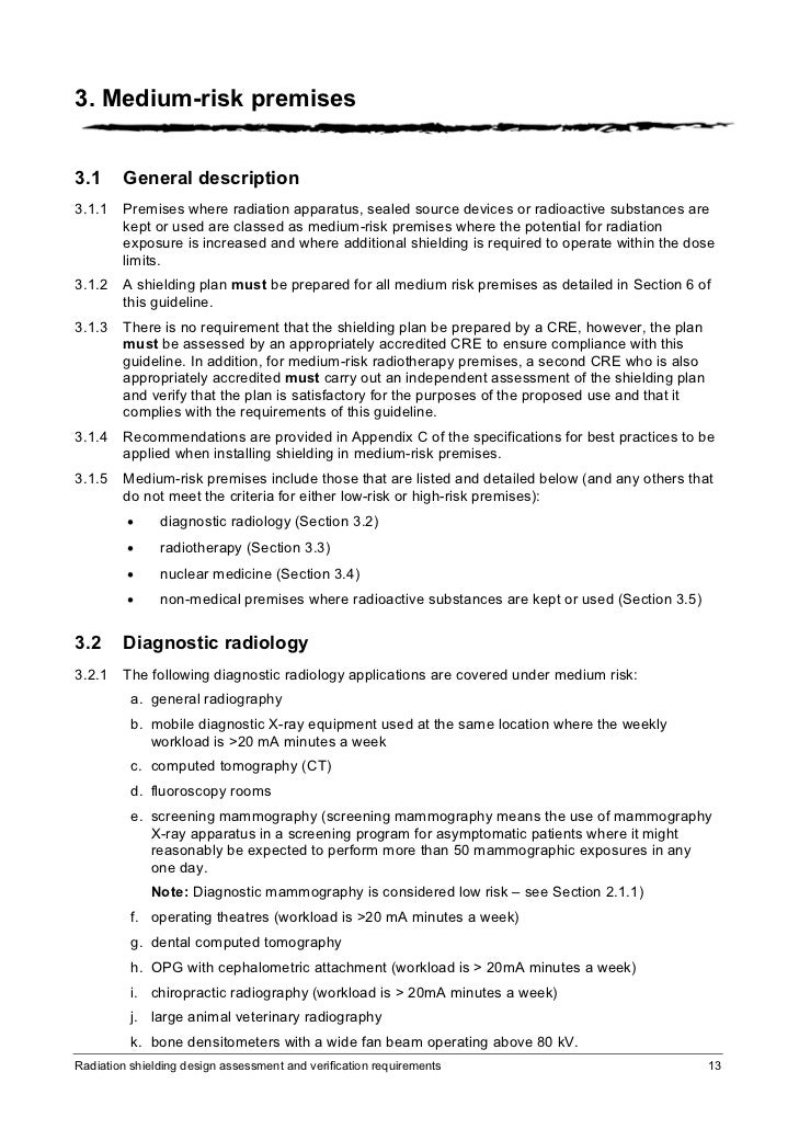 radiation shielding design assessment and verifycation requirements
