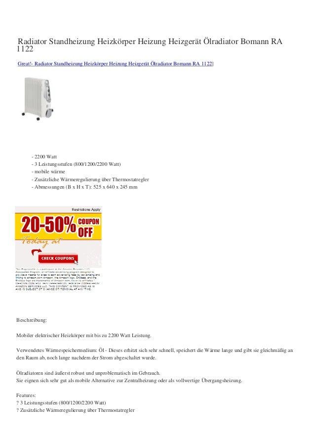 Radiator Standheizung Heizkörper Heizung Heizgerät Ölradiator Bomann RA1122Great!- Radiator Standheizung Heizkörper Heizun...