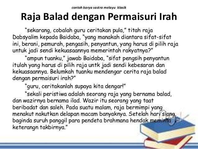 Contoh Hikayat Sastra Melayu Klasik Beserta Unsur Intrinsiknya
