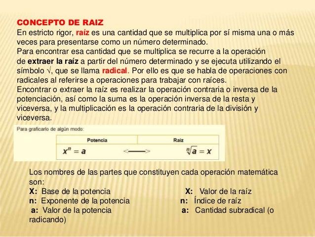 CONCEPTO DE RAIZ En estricto rigor, raíz es una cantidad que se multiplica por sí misma una o más veces para presentarse c...