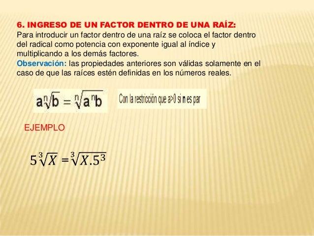 7. POTENCIA DE RADICALES.  EJEMPLOS.