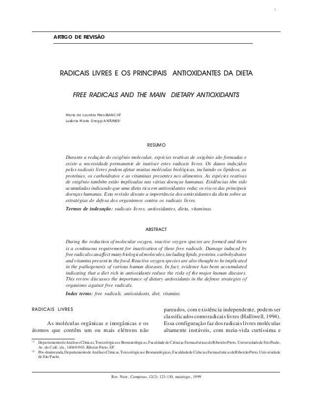 RADICAIS LIVRES E OS PRINCIPAIS ANTIOXIDANTES DA DIETA 123 Rev. Nutr., Campinas, 12(2): 123-130, maio/ago., 1999 ARTIGO DE...