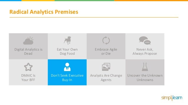 Radical Analytics Premises Embrace Agile or Die Never Ask, Always Propose DMAIC Is Your BFF Don't Seek Executive Buy-In An...