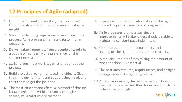 """12 Principles of Agile (adapted) 1. Our highest priority is to satisfy the """"customer"""" through early and continuous deliver..."""