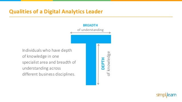 Qualities of a Digital Analytics Leader BREADTH of understanding DEPTH ofknowledge Individuals who have depth of knowledge...