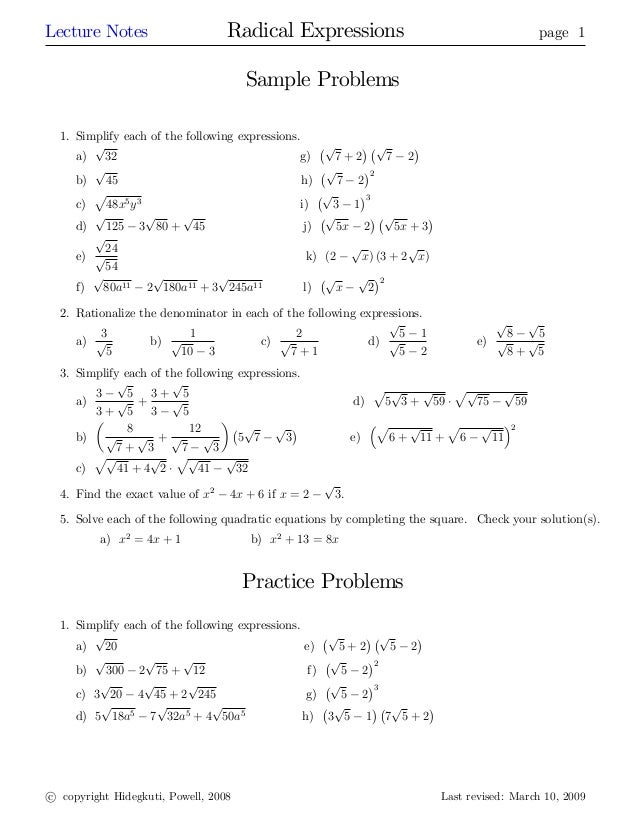 Radical expressions – Dividing Radicals Worksheet
