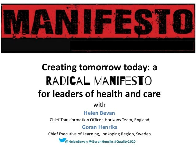 Creating tomorrow today: a for leaders of health and care with Helen Bevan Chief Transformation Officer, Horizons Team, En...
