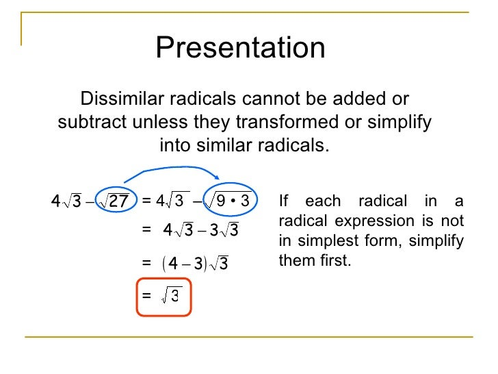 Addition And Subtraction Of Radicals Dissimilar Radicals