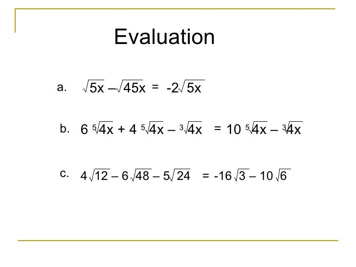 Addition and Subtraction of radicals Dissimilar radicals – Addition and Subtraction of Radicals Worksheet