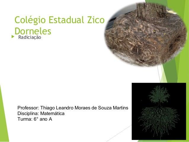 Colégio Estadual Zico Dorneles Radiciação Professor: Thiago Leandro Moraes de Souza Martins Disciplina: Matemática Turma:...