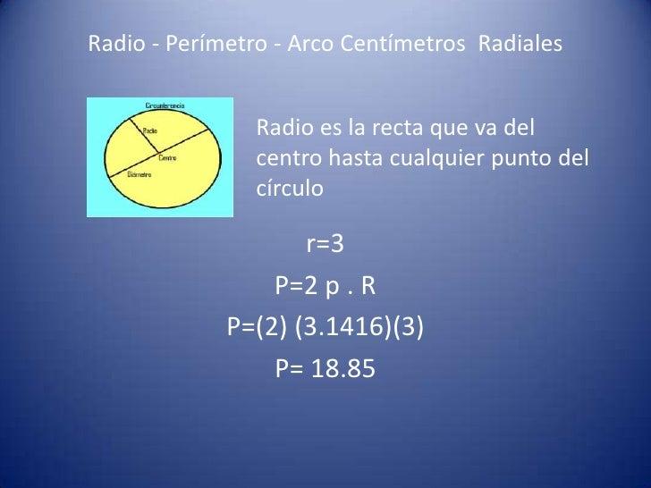 Radio - Perímetro - Arco Centímetros Radiales               Radio es la recta que va del               centro hasta cualqu...