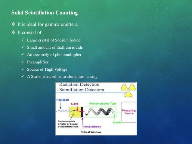 Solid Scintillation Counting  It is ideal for gamma emitters.  It consist of  Large crystal of Sodium Iodide  Small am...