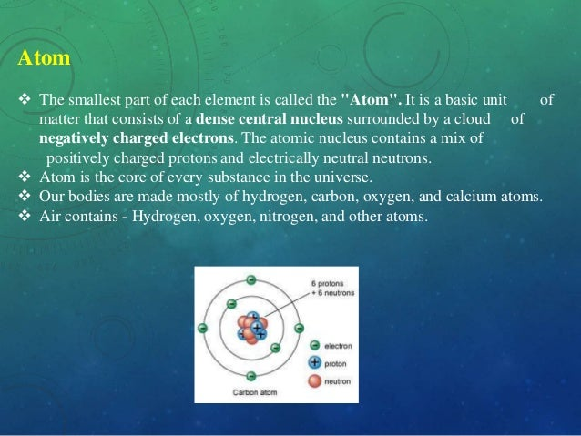"""Atom  The smallest part of each element is called the """"Atom"""". It is a basic unit of matter that consists of a dense centr..."""