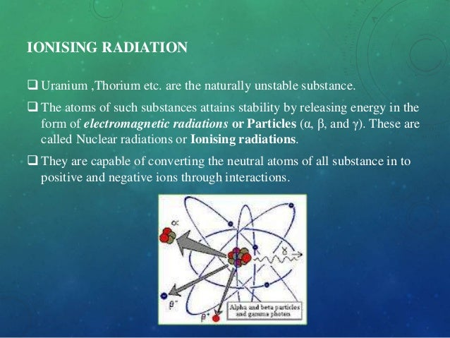 IONISING RADIATION  Uranium ,Thorium etc. are the naturally unstable substance.  The atoms of such substances attains st...
